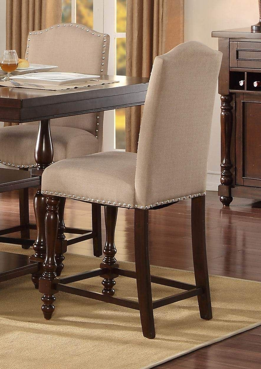 Wood & Fabric Counter Height Dining Side Chair, Cream & Dark Cherry Intended For Most Recent Market 7 Piece Dining Sets With Host And Side Chairs (View 20 of 20)