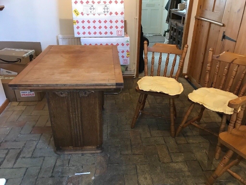 Wood Table And Chairs | In Saffron Walden, Essex | Gumtree For Current Walden 9 Piece Extension Dining Sets (Image 18 of 20)
