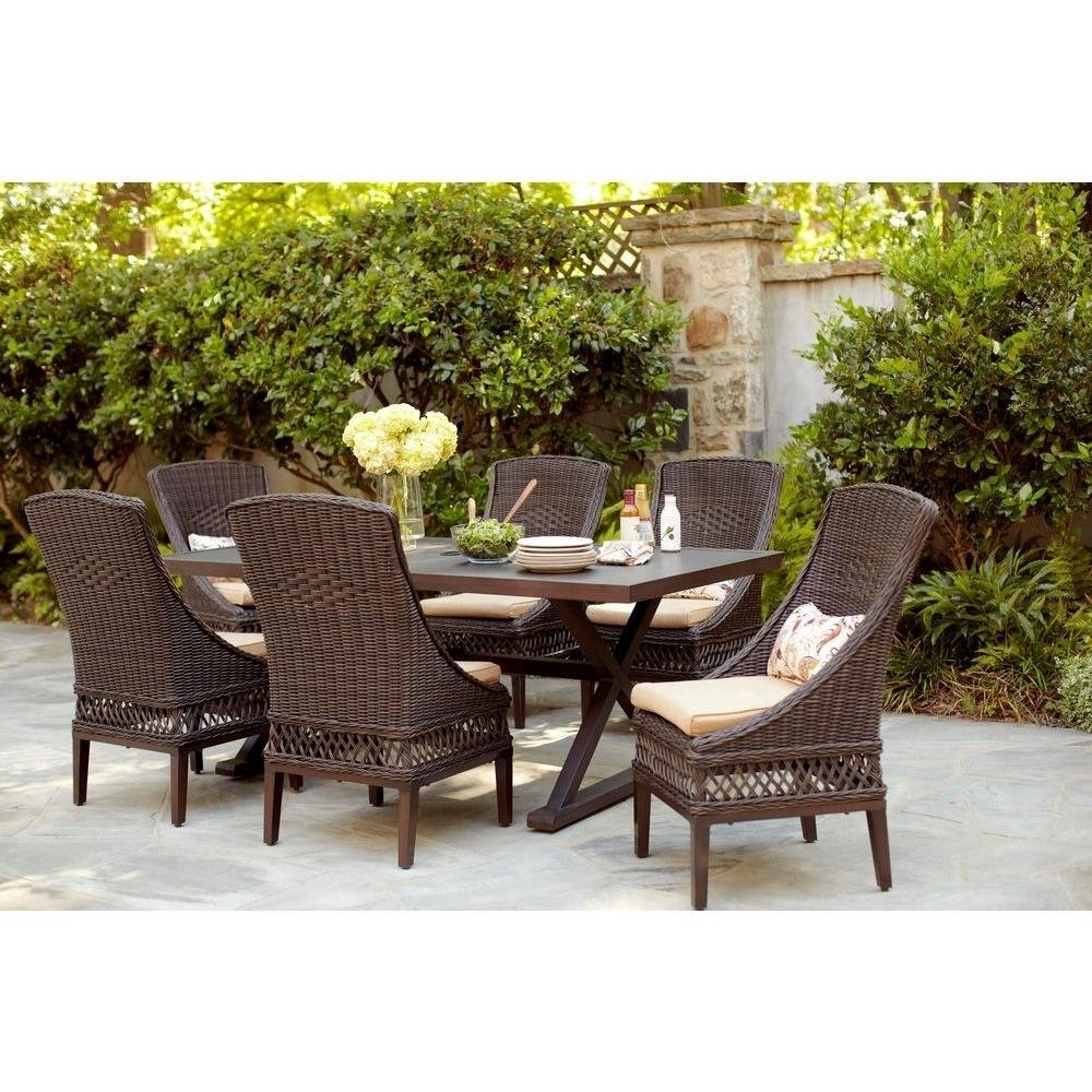 Woodbury 7Pc Patio Brown Wicker Dining Set Within Most Current Outdoor Tortuga Dining Tables (View 20 of 20)