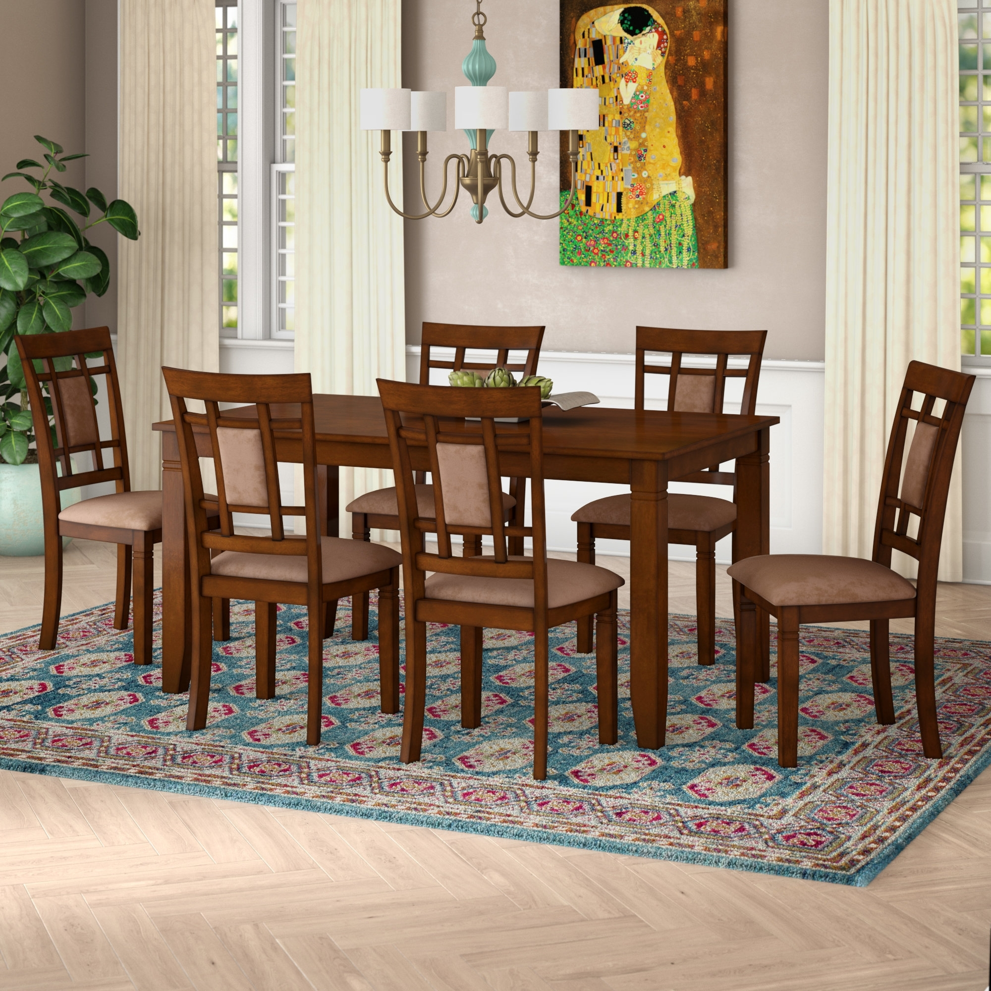 World Menagerie Ighli 7 Piece Dining Set & Reviews | Wayfair Within Most Up To Date Norwood 6 Piece Rectangular Extension Dining Sets With Upholstered Side Chairs (Image 20 of 20)