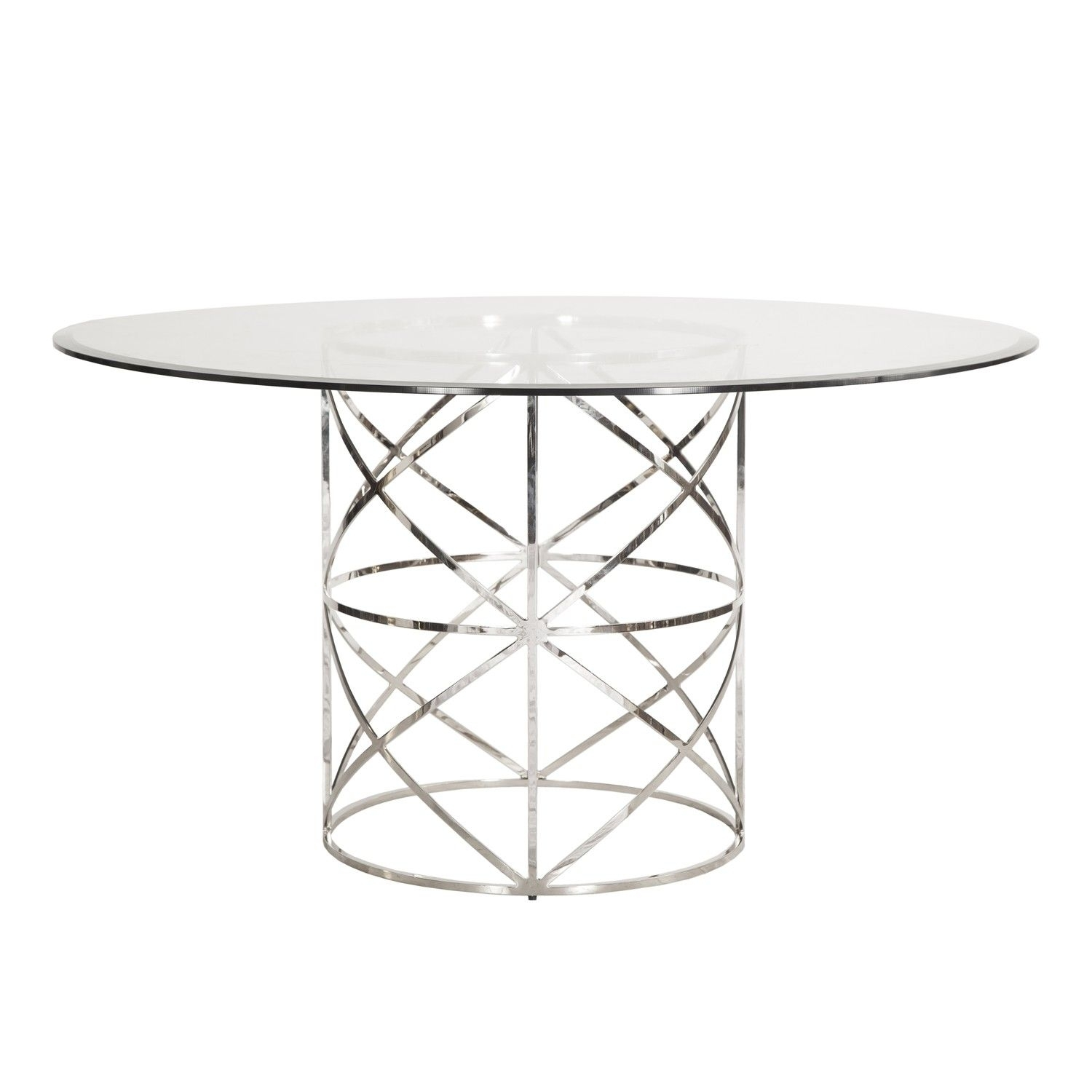 Worlds Away Anderson Round Nickel X Motif Dining Table With 54 Intended For Most Recently Released Ina Matte Black 60 Inch Counter Tables With Frosted Glass (Image 20 of 20)