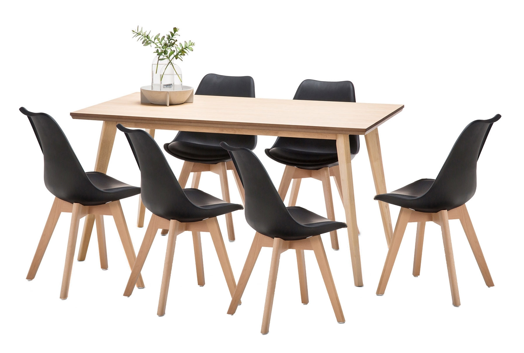 Wyatt Dining Table & 6 Padded Eames Replica Chairs Set | Temple With Most Current Wyatt Dining Tables (View 4 of 20)