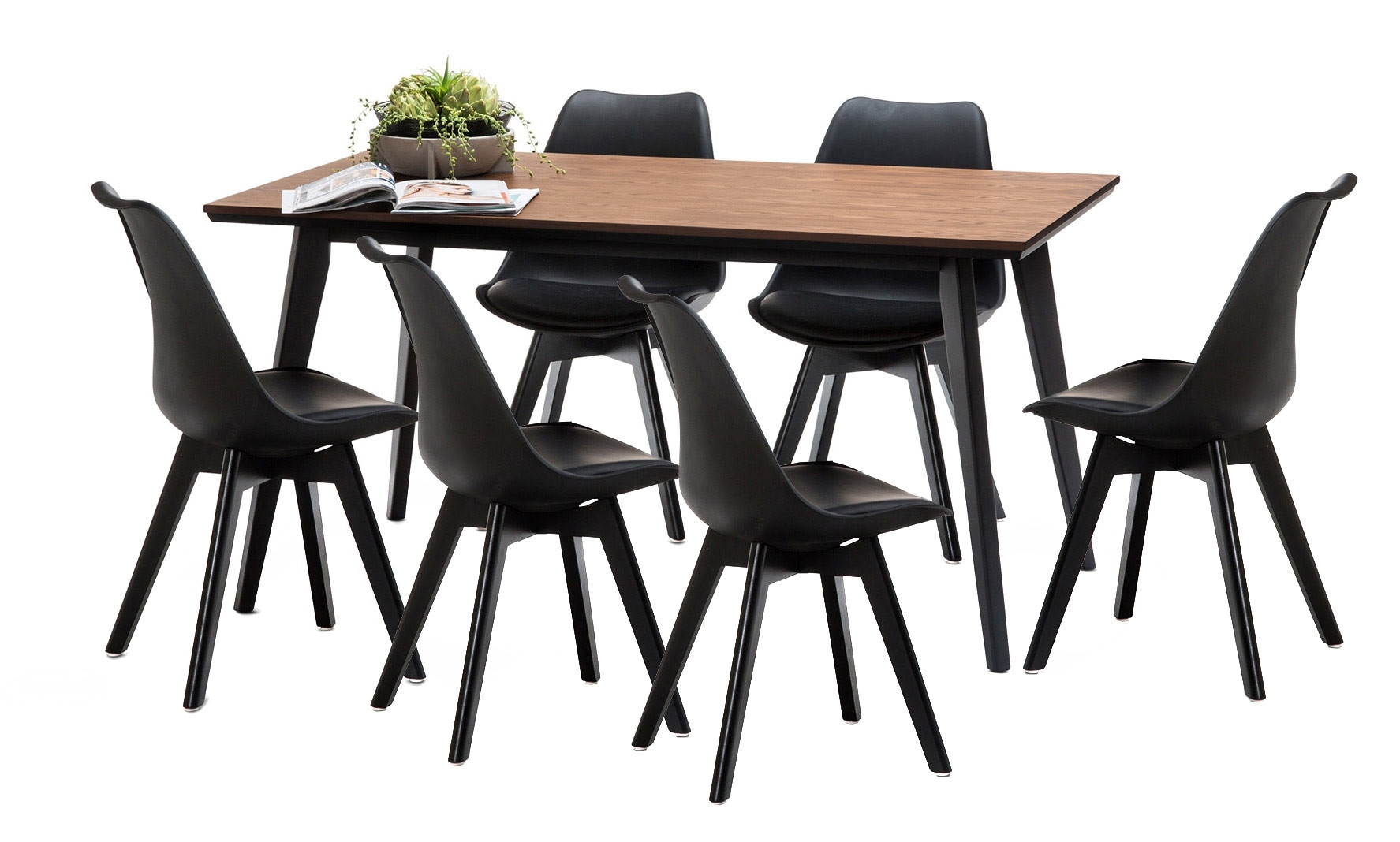 Wyatt Dining Table Set With 6 Padded Eames Replica Chairs | Temple Throughout Most Recently Released Wyatt Dining Tables (Image 17 of 20)