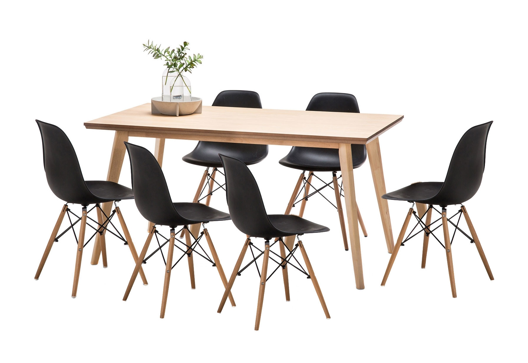 Wyatt Dining Table Set With 6 Replica Eames Chairs | Temple & Webster Inside Recent Wyatt Dining Tables (Image 18 of 20)