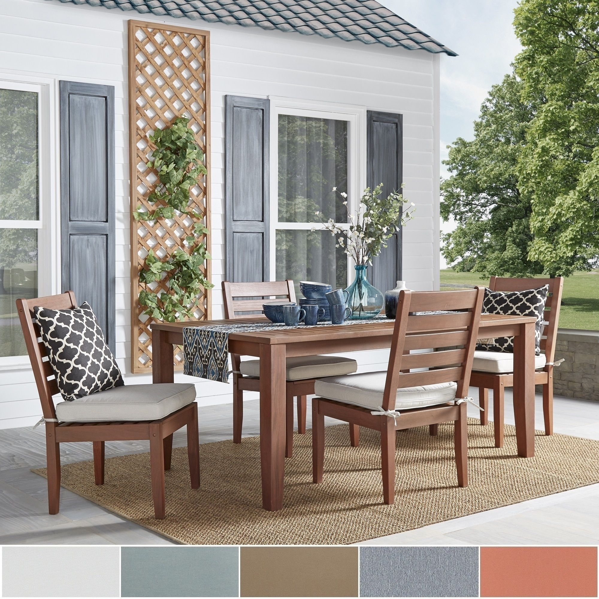 Yasawa Modern Wood Outdoor Rectangle 5 Piece Dining Set  Brown Intended For 2018 Craftsman 7 Piece Rectangle Extension Dining Sets With Arm & Side Chairs (Image 20 of 20)