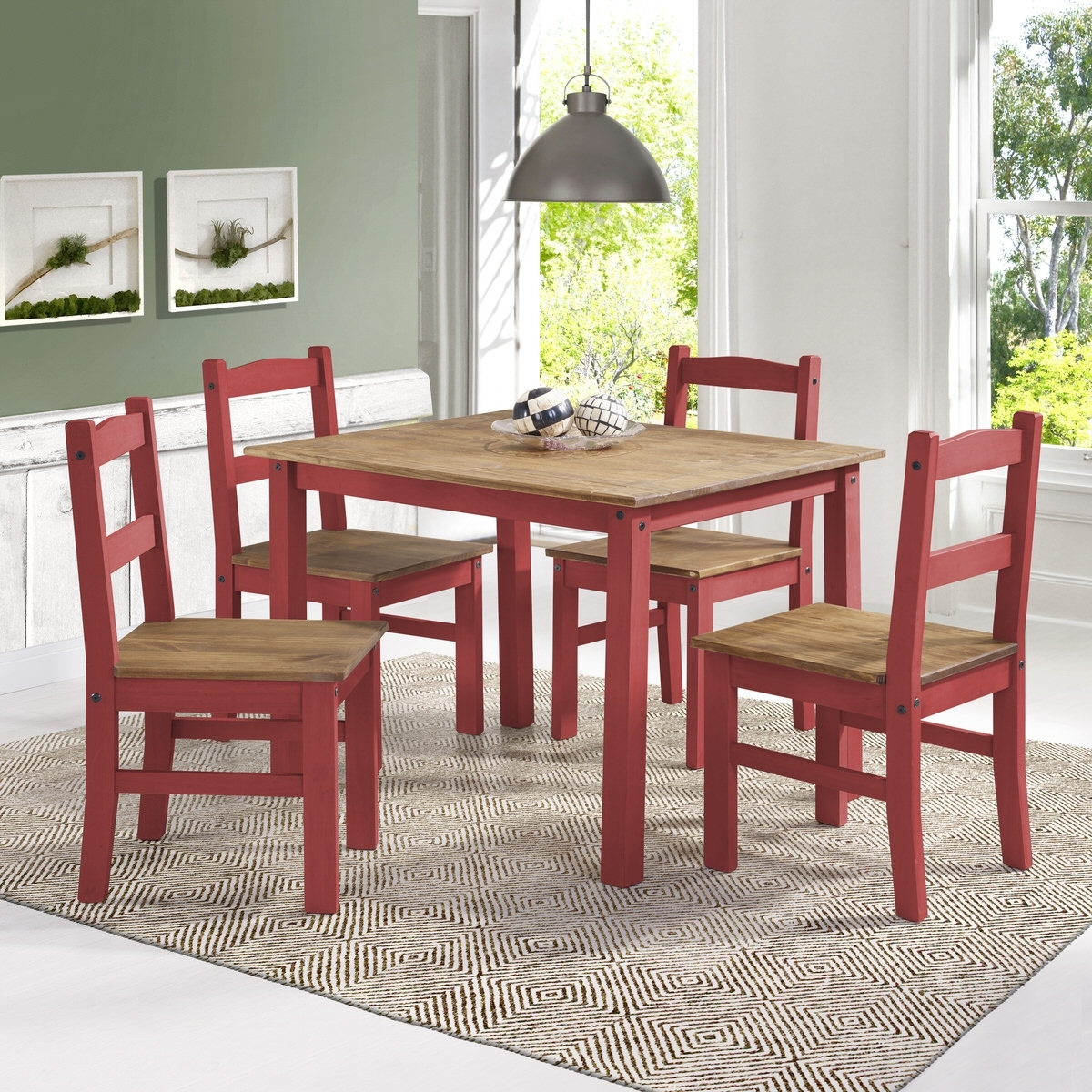 York Red Wash 5 Piece Solid Wood Dining Setmanhattan Comfort For Most Recently Released Walden 9 Piece Extension Dining Sets (Image 19 of 20)