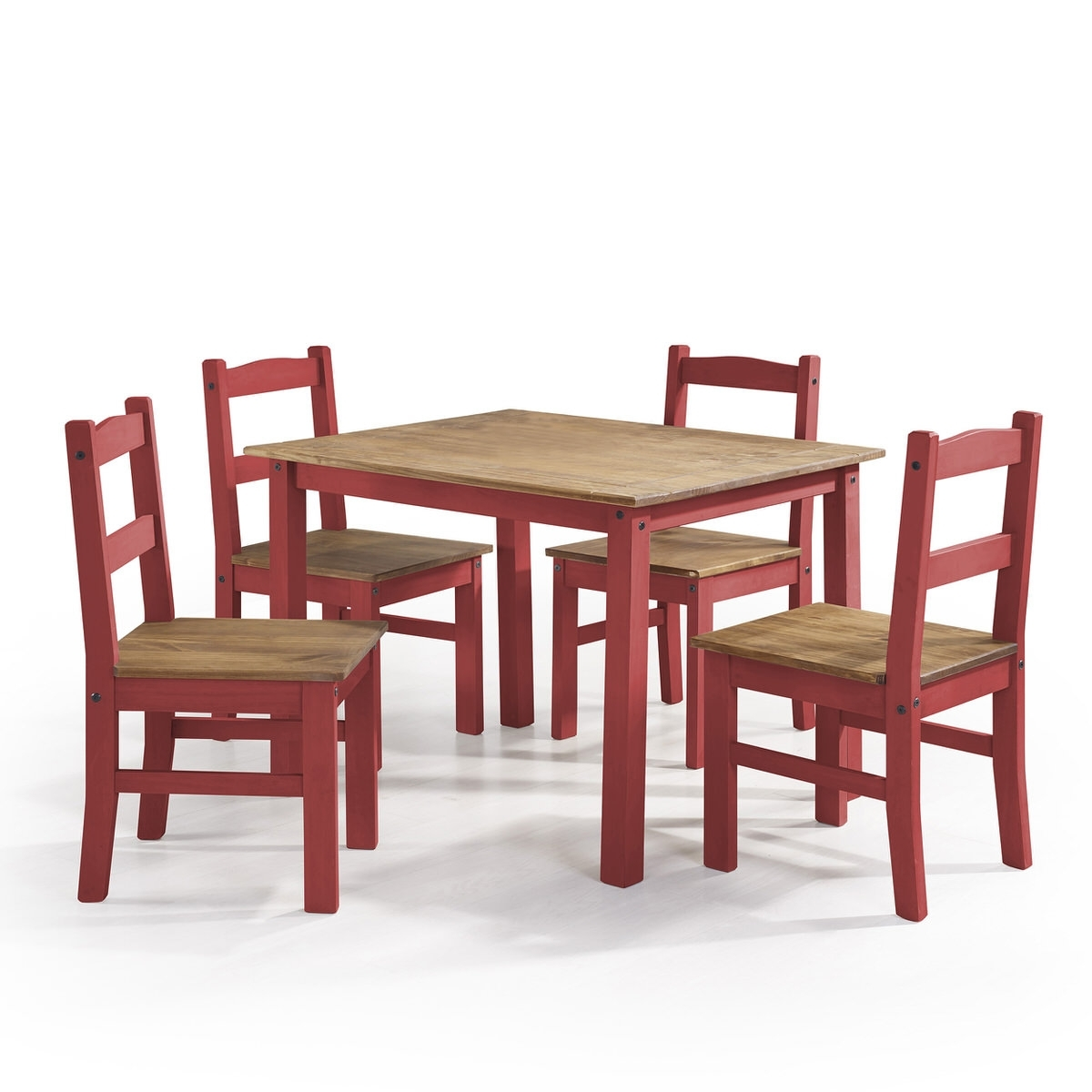 York Red Wash 5 Piece Solid Wood Dining Setmanhattan Comfort Regarding Most Popular Walden 9 Piece Extension Dining Sets (Image 20 of 20)