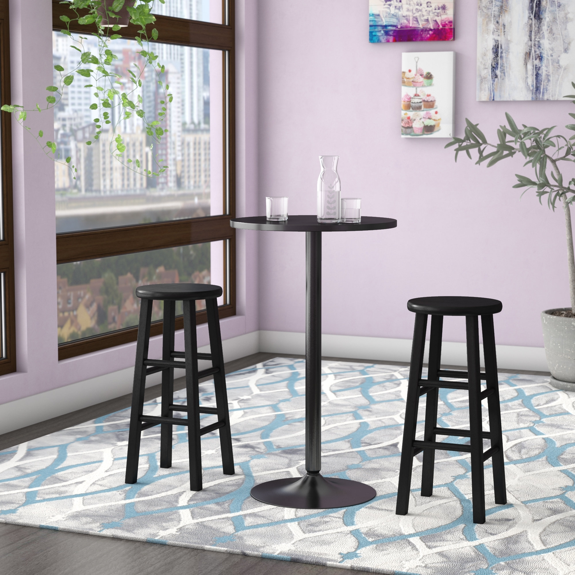 Zipcode Design Avery 3 Piece Counter Height Pub Table Set & Reviews Pertaining To Most Current Laurent 7 Piece Counter Sets With Wood Counterstools (Image 20 of 20)