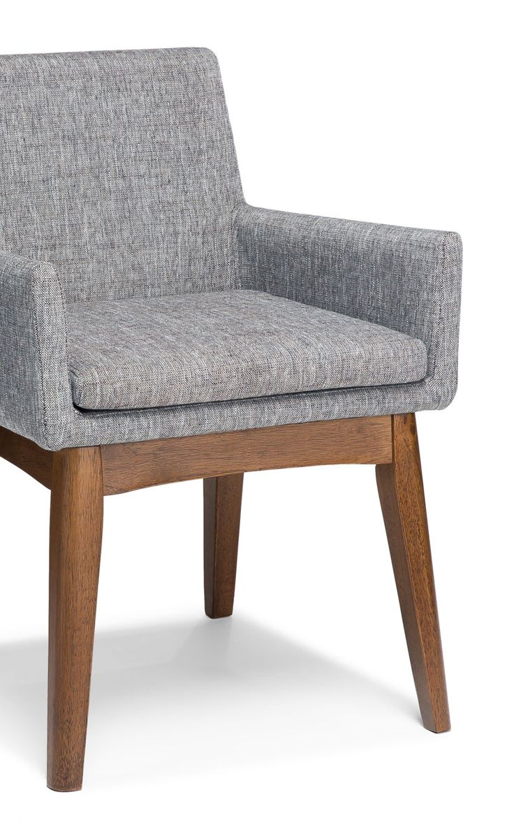 2X Gray Dining Armchair In Brown Wood Upholstered | Article Chanel Throughout Tate Arm Sofa Chairs (Image 1 of 20)