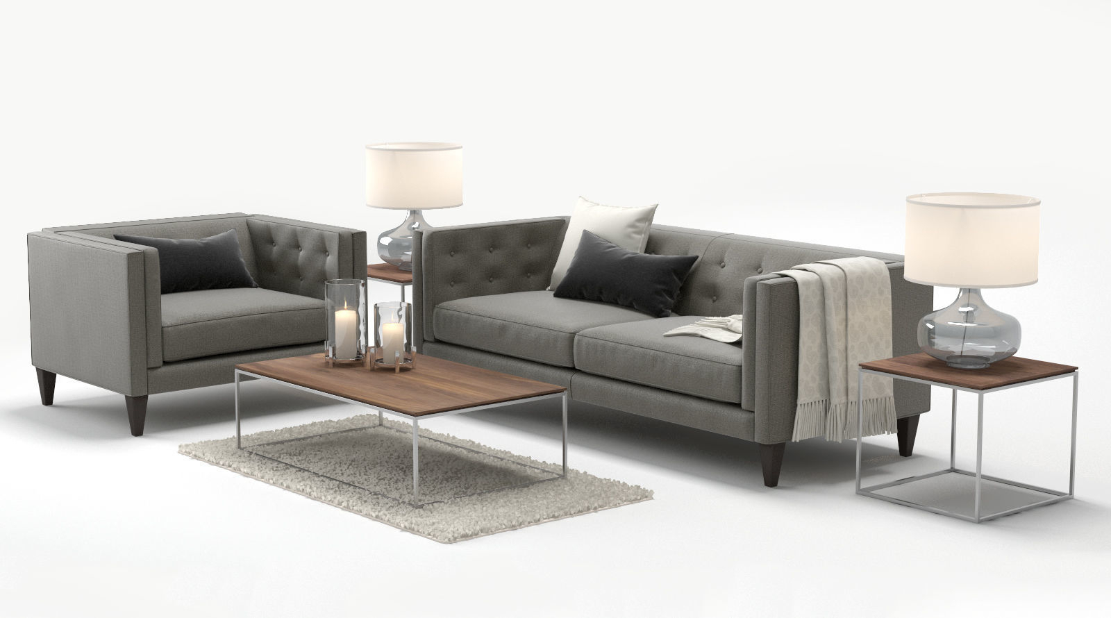 3D Crate And Barrel Aidan Sofa Chair | Cgtrader With Regard To Aidan Ii Sofa Chairs (Image 3 of 20)