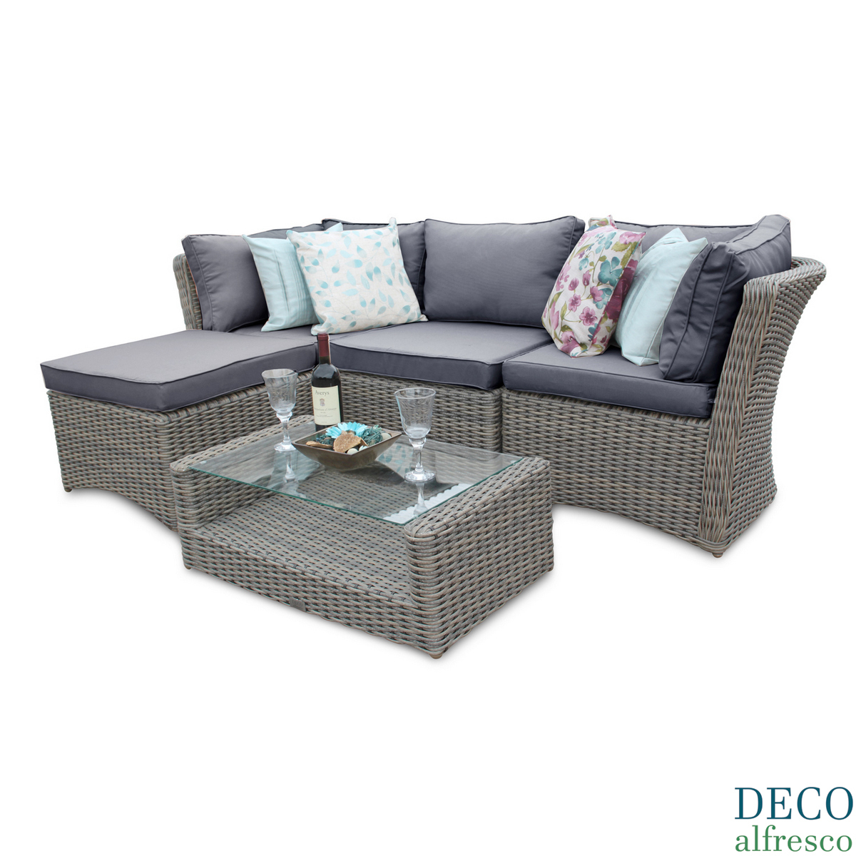 5Pc High Back Modular Corner Rattan Garden Furniture – Deco Alfresco With Regard To London Dark Grey Sofa Chairs (Image 2 of 20)