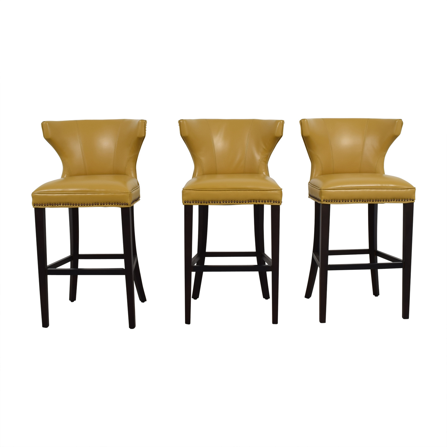 72% Off – Grandin Road Grandin Road Mustard Yellow Bar Stools / Chairs In Grandin Leather Sofa Chairs (Image 1 of 20)