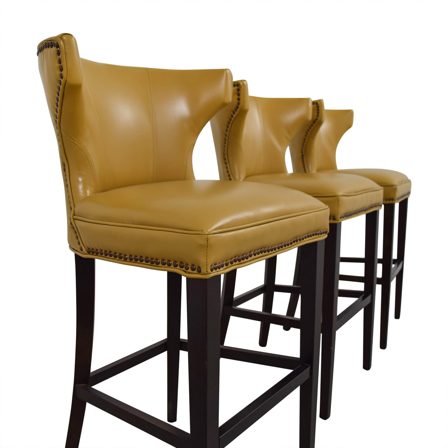 72% Off – Grandin Road Grandin Road Mustard Yellow Bar Stools / Chairs Regarding Grandin Leather Sofa Chairs (Image 2 of 20)