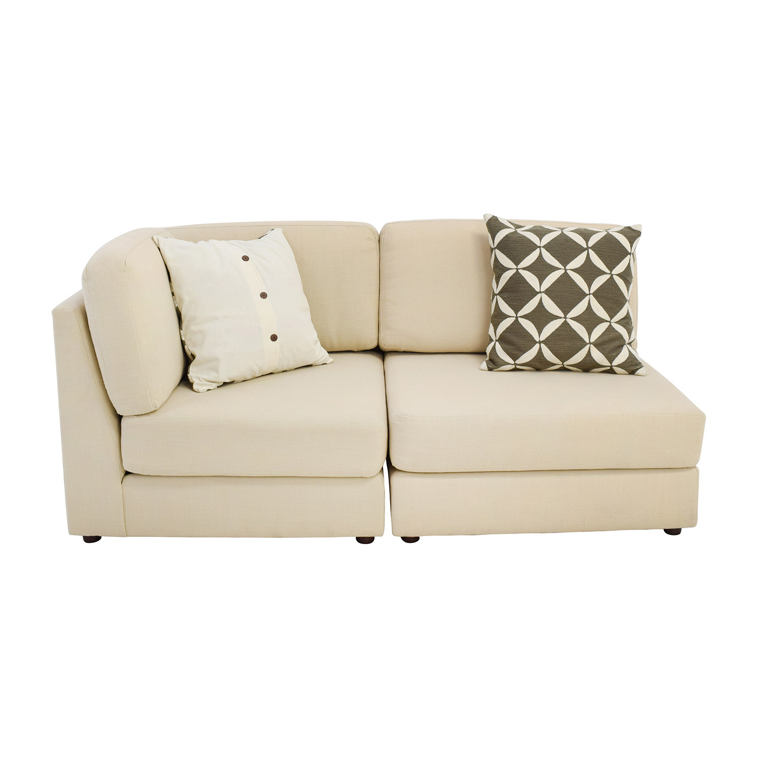 76% Off – West Elm West Elm Cream Chaise Sofa Or Two Chairs / Sofas Throughout Elm Sofa Chairs (Photo 7 of 20)