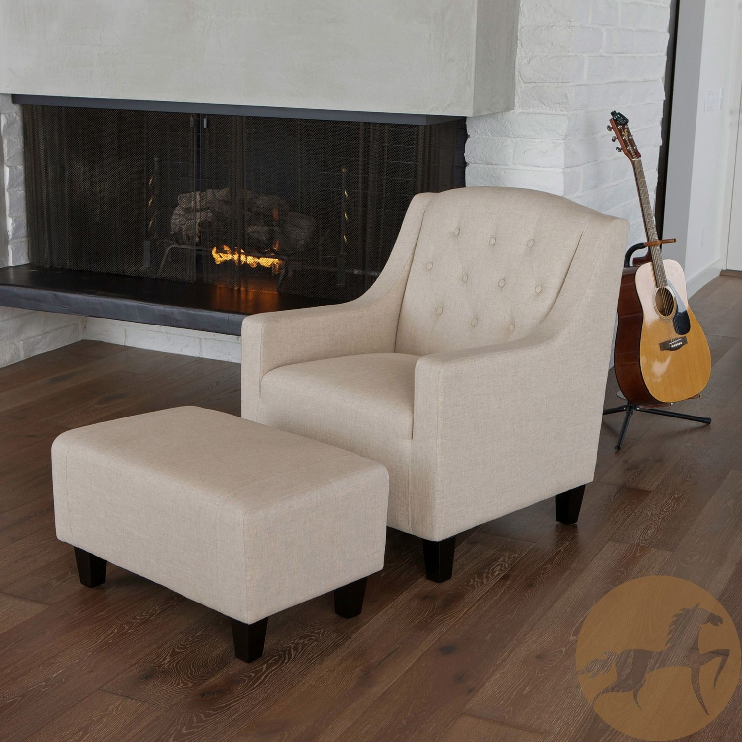Abigail Dark Beige Club Chair & Ottoman | Products | Pinterest Pertaining To Abigail Ii Sofa Chairs (View 6 of 20)