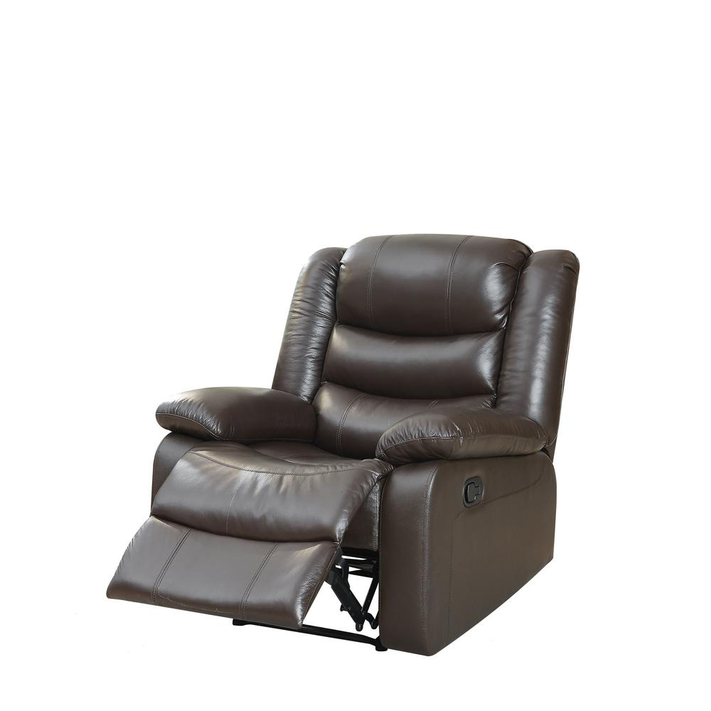 Acme Furniture Acme Fede Top Grain Leather Espresso Recliner 59472 With Espresso Leather Swivel Chairs (Image 2 of 20)