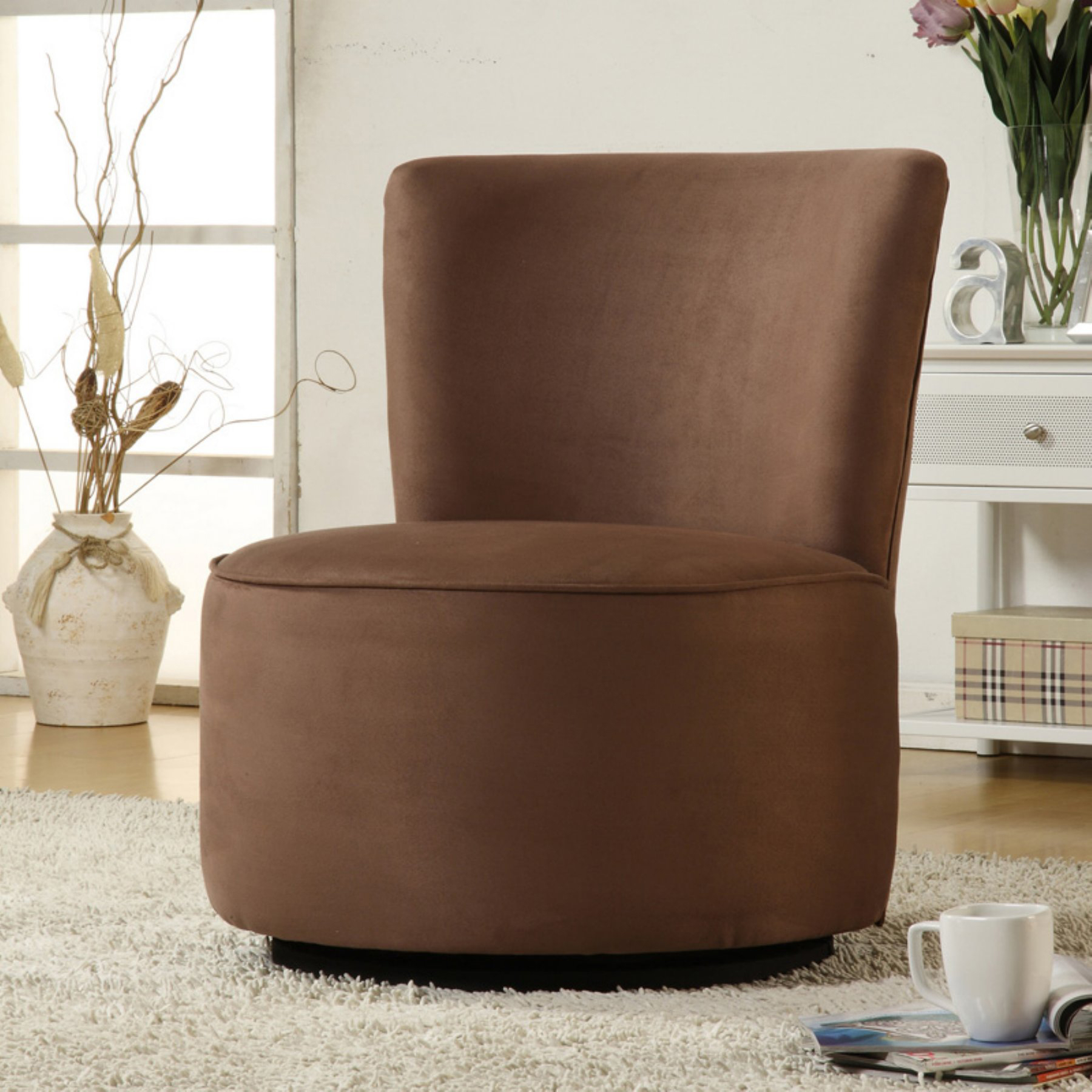 Aiden Round Fabric Swivel Chair  Brown – Walmart Intended For Aidan Ii Swivel Accent Chairs (Image 9 of 20)