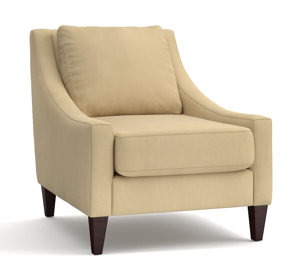 Aiden Upholstered Armchair, Polyester Wrapped Cushions, Organic For Aidan Ii Swivel Accent Chairs (Image 10 of 20)
