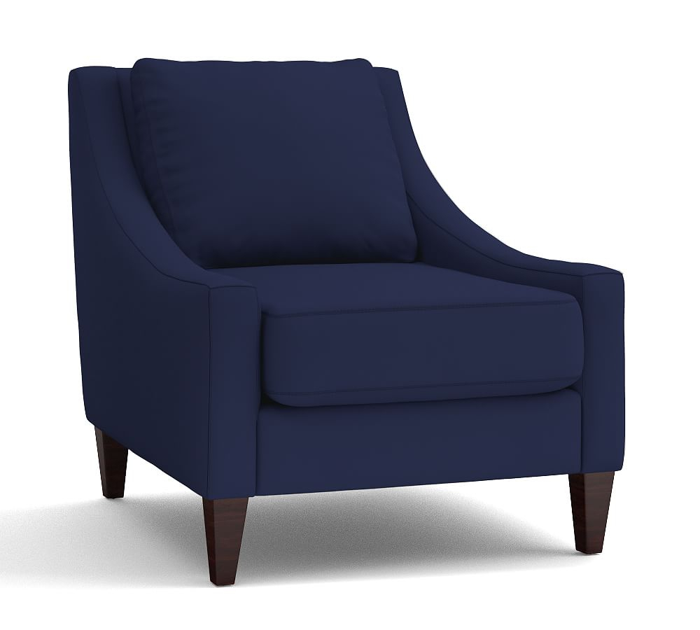 Aiden Upholstered Armchair, Polyester Wrapped Cushions, Sunbrella(R Within Aidan Ii Swivel Accent Chairs (Image 11 of 20)