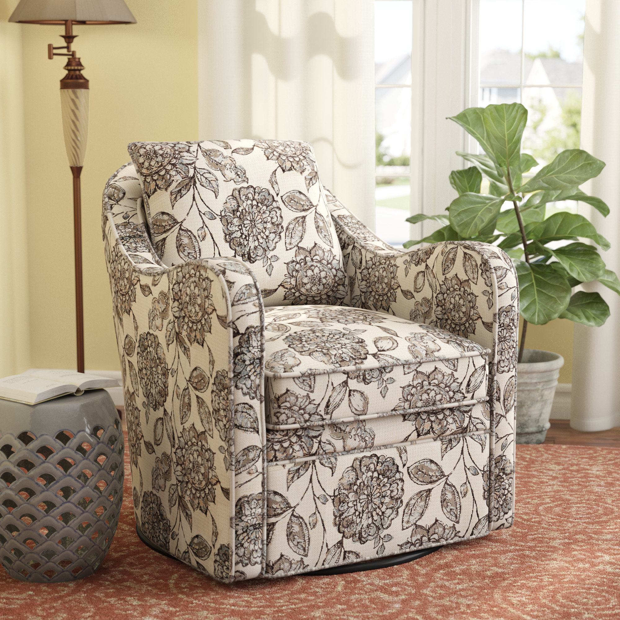 Alcott Hill Brick And Barrel Swivel Armchair & Reviews | Wayfair In Revolve Swivel Accent Chairs (Image 1 of 20)