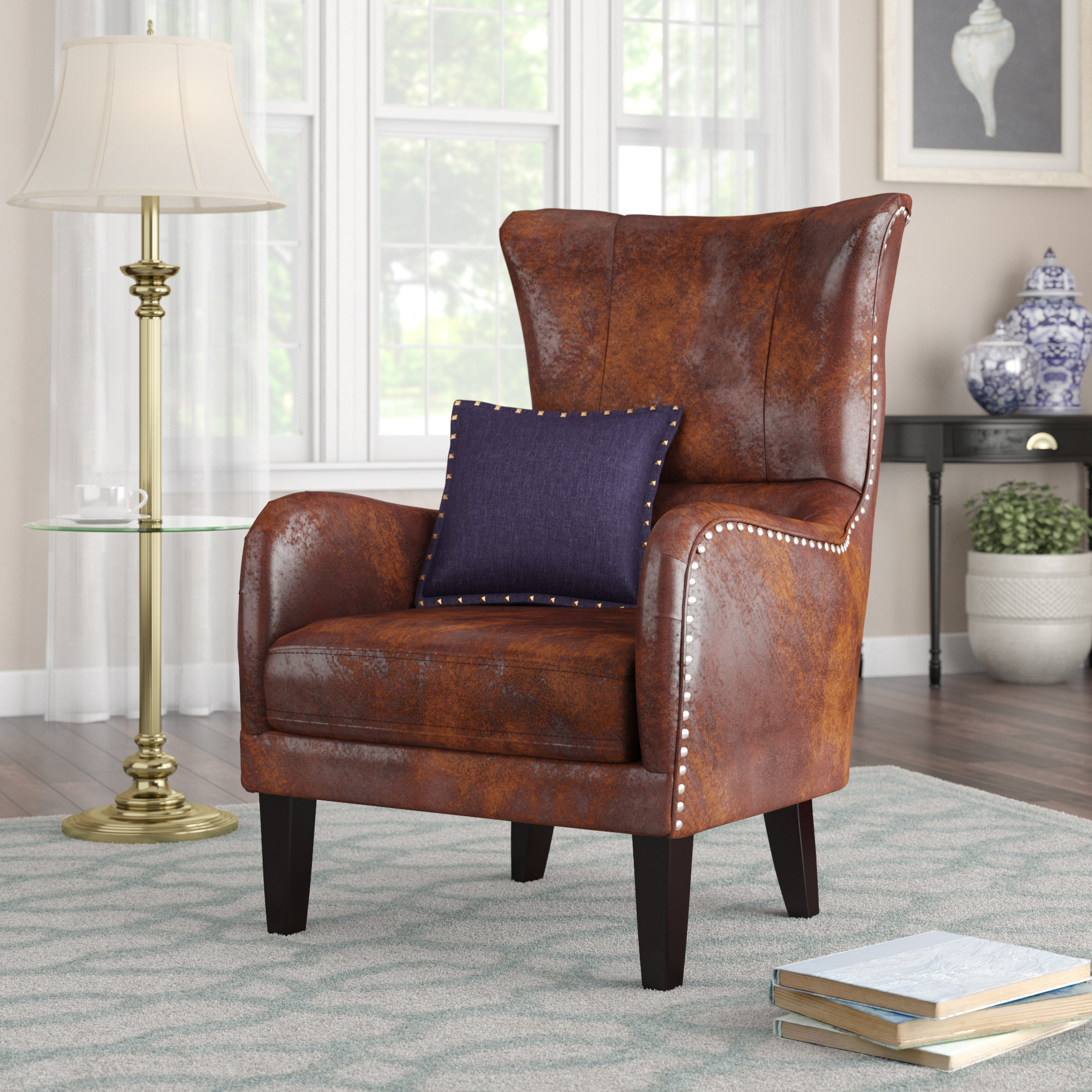 Alcott Hill Gordon Wingback Chair & Reviews | Wayfair Inside Gordon Arm Sofa Chairs (Image 1 of 20)