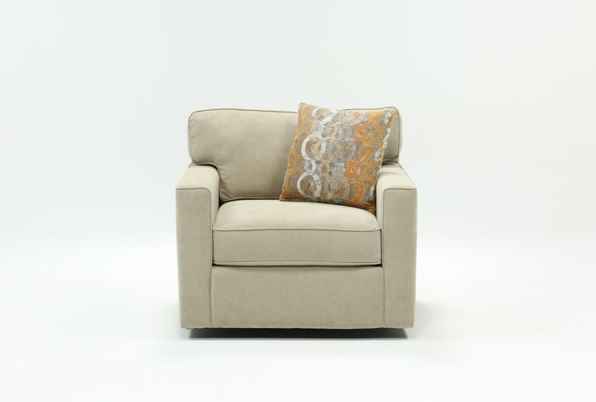 Alder Grande Ii Swivel Chair | Living Spaces Within Chill Swivel Chairs With Metal Base (Image 2 of 20)
