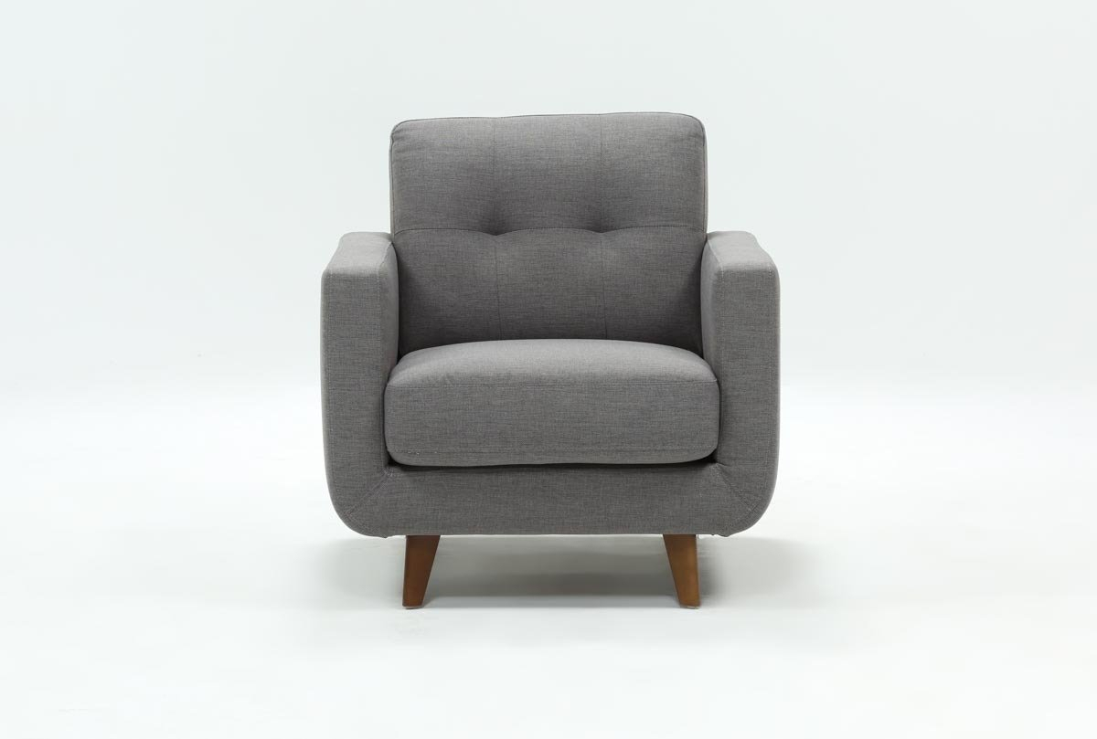 Allie Dark Grey Chair | Living Spaces In Caressa Leather Dark Grey Sofa Chairs (Image 1 of 20)