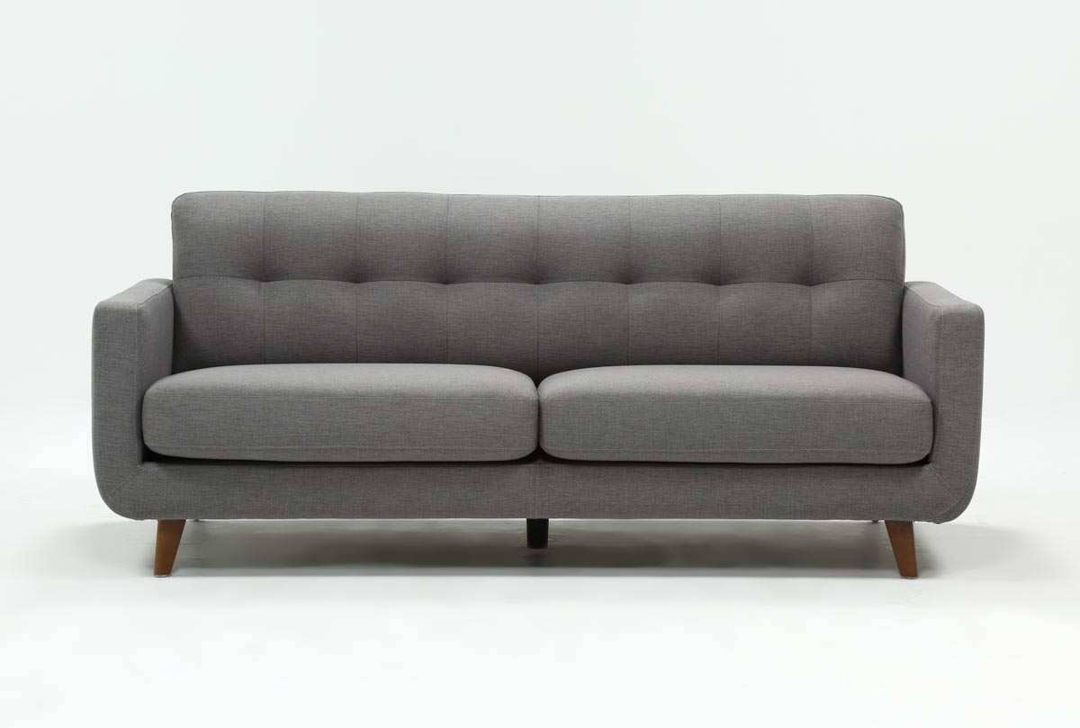 Allie Dark Grey Sofa | Living Spaces In Caressa Leather Dark Grey Sofa Chairs (Image 2 of 20)