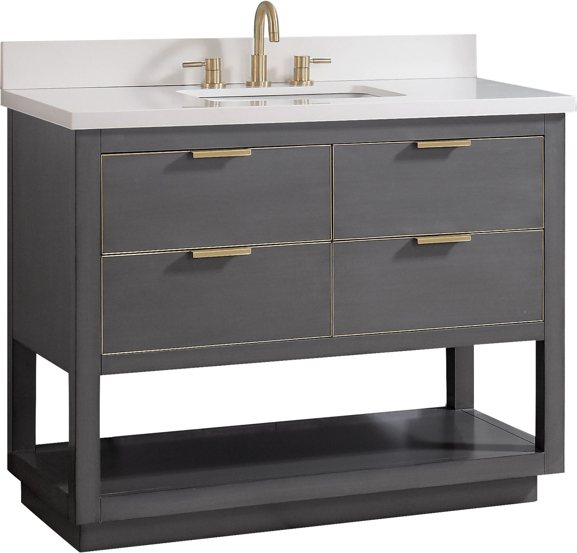 "Allie Twilight Gray And Gold Trim 43"" Vanity With White Quartz Top Within Allie Dark Grey Sofa Chairs (Image 9 of 20)"