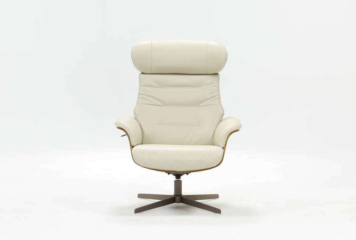 Amala Bone Leather Reclining Swivel Chair | Living Spaces Within Mercer Foam Swivel Chairs (View 6 of 20)