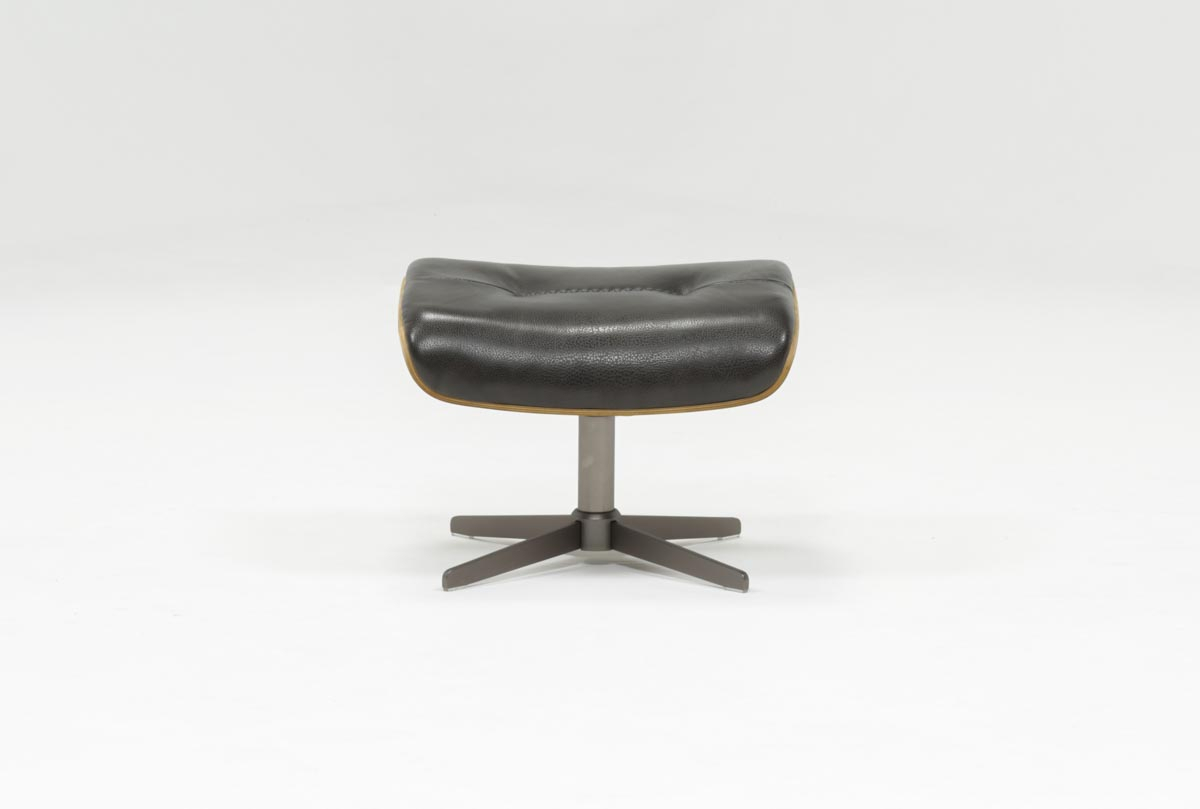Amala Dark Grey Leather Ottoman With Regard To Amala Bone Leather Reclining Swivel Chairs (Image 4 of 20)