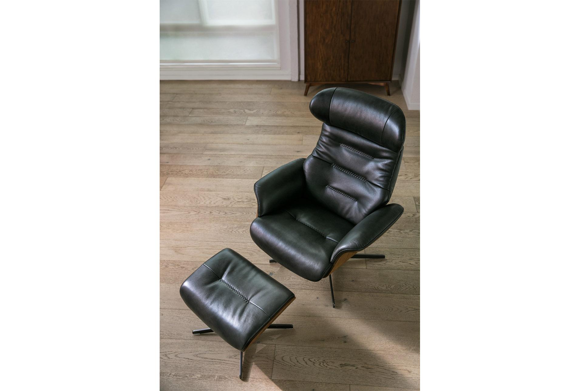 Amala Dark Grey Leather Reclining Swivel Chair & Ottoman In 2018 Intended For Amala Dark Grey Leather Reclining Swivel Chairs (View 2 of 20)