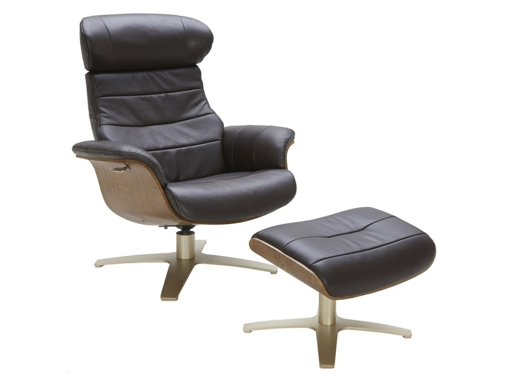 Amala Dark Grey Leather Reclining Swivel Chair Ottoman Living Spaces Within Amala White Leather Reclining Swivel Chairs (Image 8 of 20)