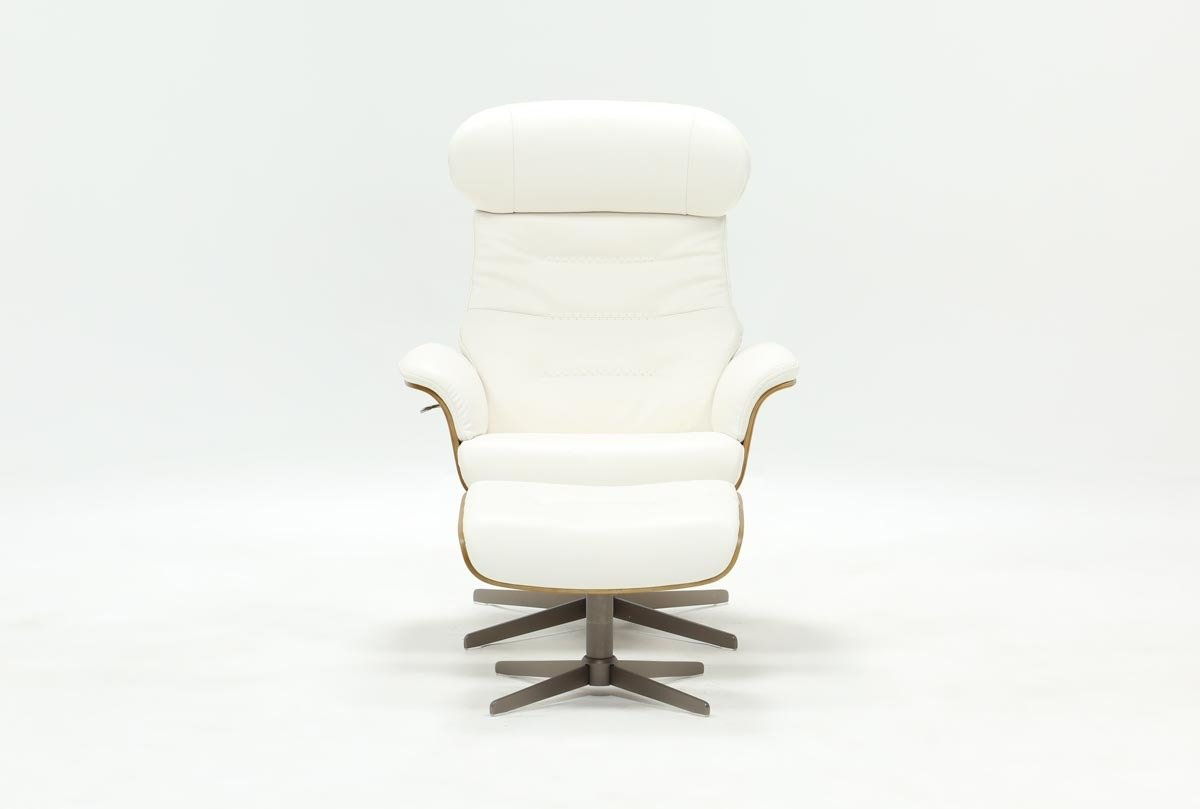 Amala White Leather Chair & Ottoman | Living Spaces Regarding Amala White Leather Reclining Swivel Chairs (Image 9 of 20)
