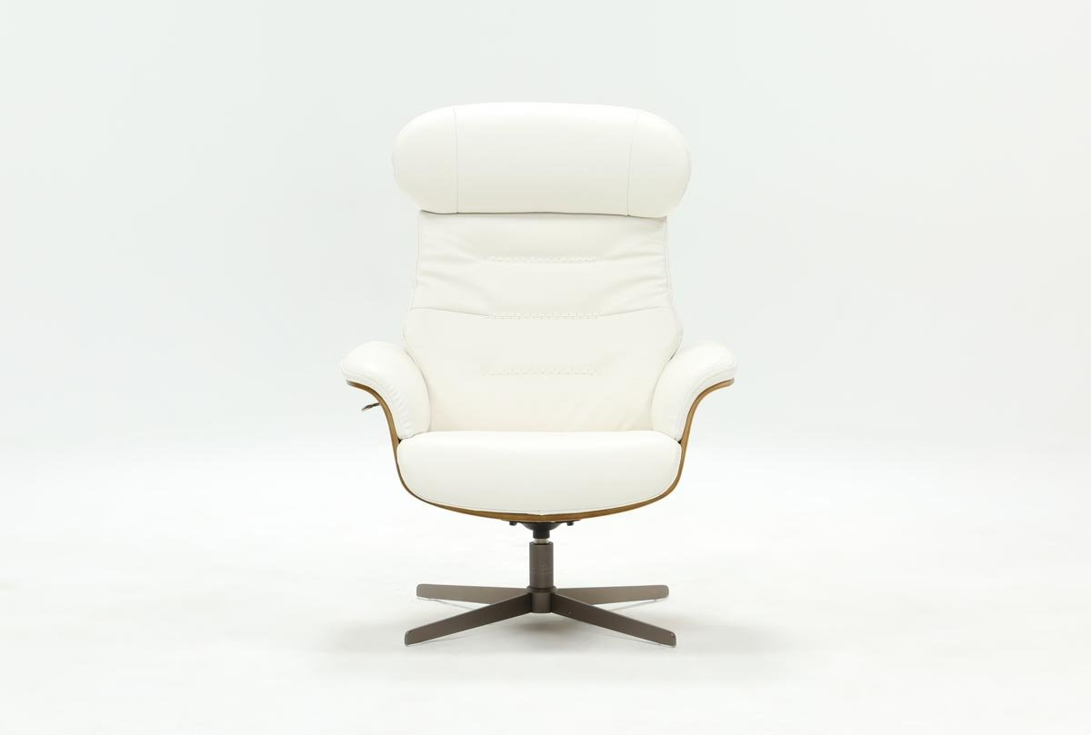 Amala White Leather Reclining Swivel Chair | Living Spaces With Regard To Mercer Foam Swivel Chairs (View 18 of 20)