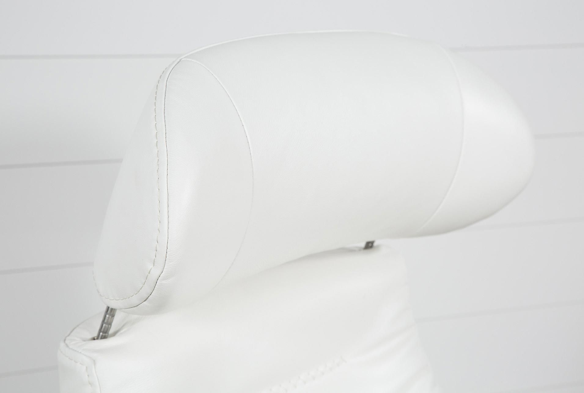 Amala White Leather Reclining Swivel Chair #whiteleatherchair Intended For Amala White Leather Reclining Swivel Chairs (Image 10 of 20)