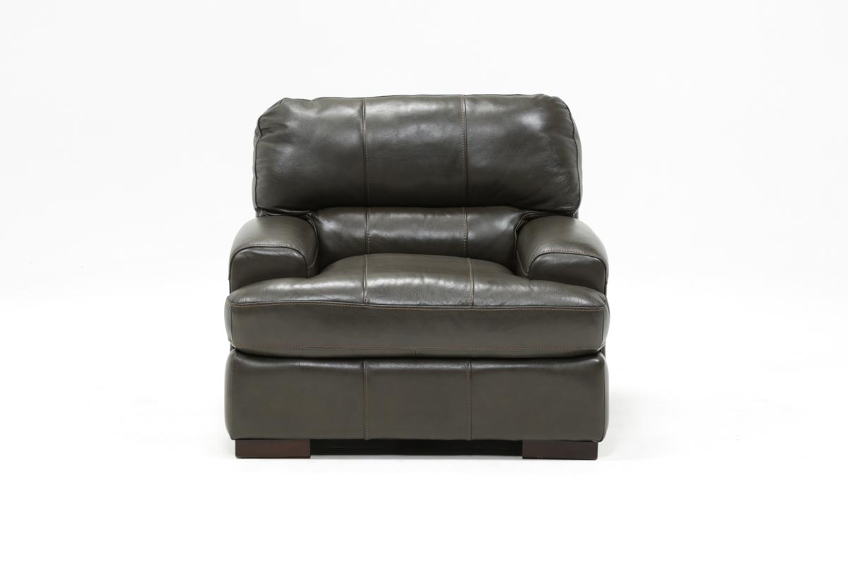 Andrew Leather Chair | Living Spaces With Gina Grey Leather Sofa Chairs (Image 1 of 20)