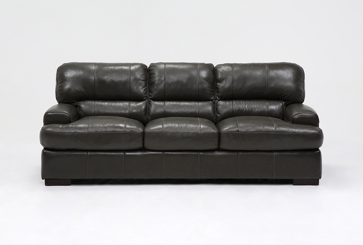 Andrew Leather Sofa | Living Spaces Throughout Gina Blue Leather Sofa Chairs (Image 2 of 20)