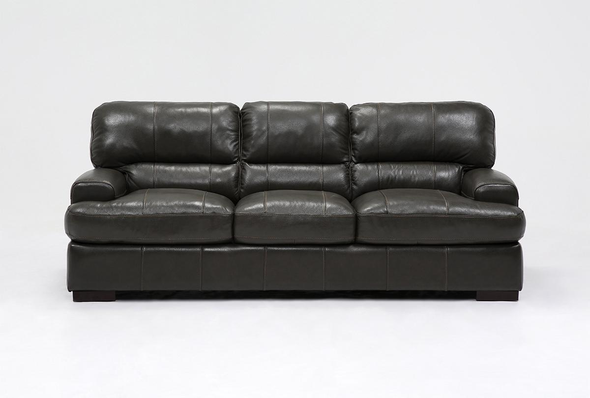 Andrew Leather Sofa | Living Spaces Within Gina Grey Leather Sofa Chairs (Image 2 of 20)