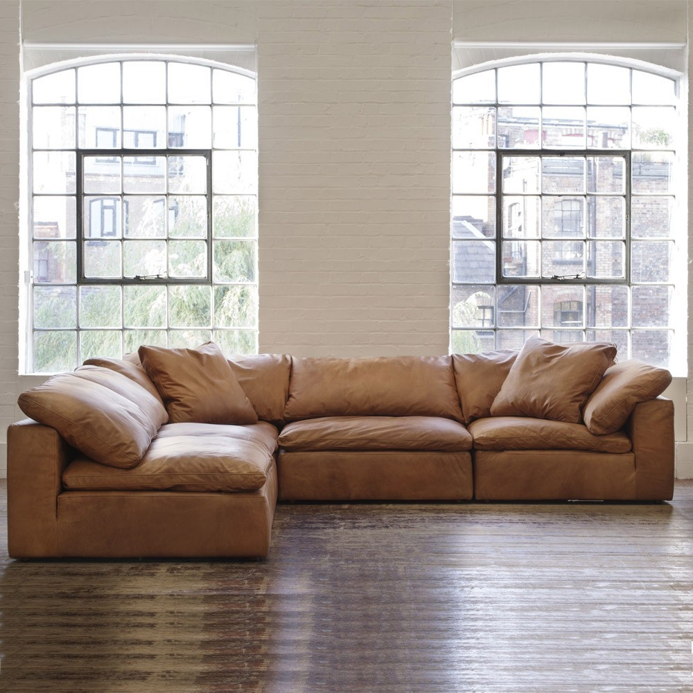 Andrew Martin Truman Sectional Sofa – Tan Leather | Moduler Sofa Intended For Andrew Leather Sofa Chairs (Image 9 of 20)