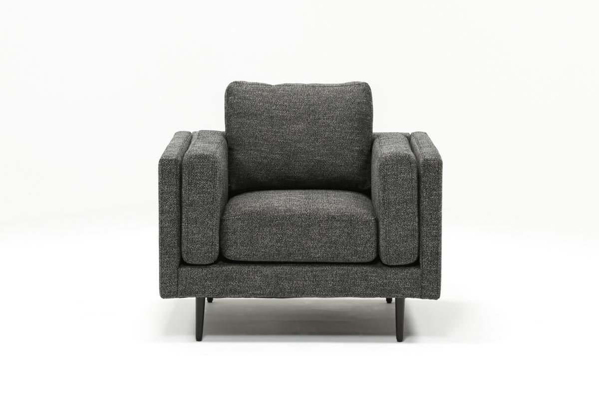 Aquarius Dark Grey Chair | Living Spaces Pertaining To Caressa Leather Dark Grey Sofa Chairs (Image 3 of 20)