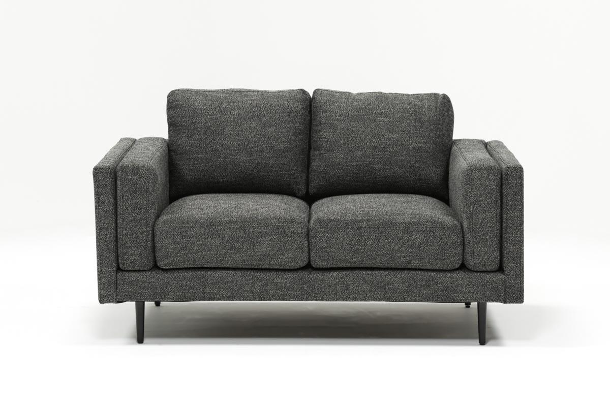 Aquarius Dark Grey Loveseat | Living Spaces Throughout Aquarius Dark Grey Sofa Chairs (View 3 of 20)
