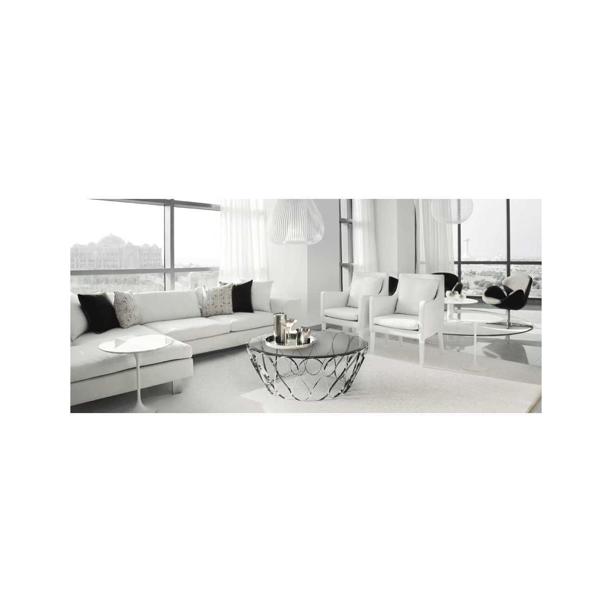 Aquarius Glass Coffee Table, Stainless Steel | Swanky Interiors Regarding Aquarius Dark Grey Sofa Chairs (Image 9 of 20)