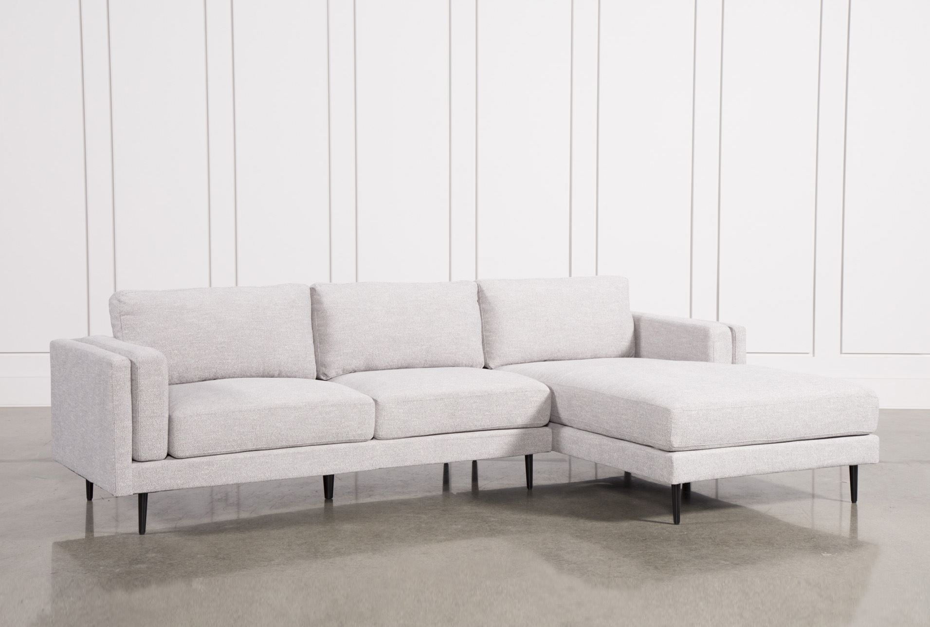 Aquarius Light Grey 2 Piece Sectional W/raf Chaise | Products For Caressa Leather Dove Grey Sofa Chairs (Image 1 of 20)