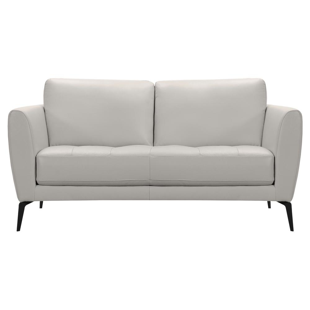 Armen Living Armen Living Hope Genuine Dove Grey Leather Throughout Caressa Leather Dark Grey Sofa Chairs (Image 5 of 20)