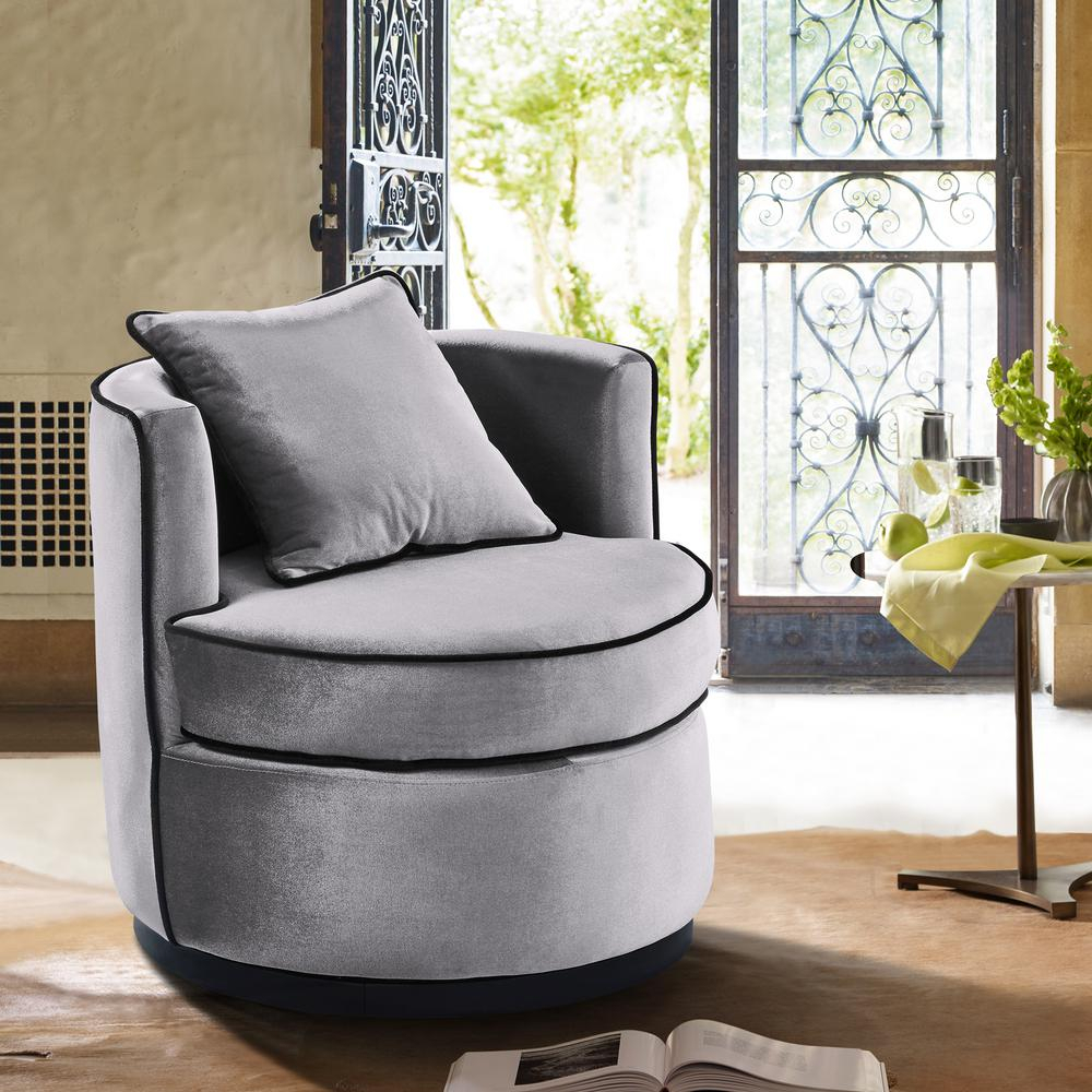 Armen Living Truly Grey Velvet And Black Velvet Piping Contemporary Throughout Katrina Blue Swivel Glider Chairs (Image 2 of 20)