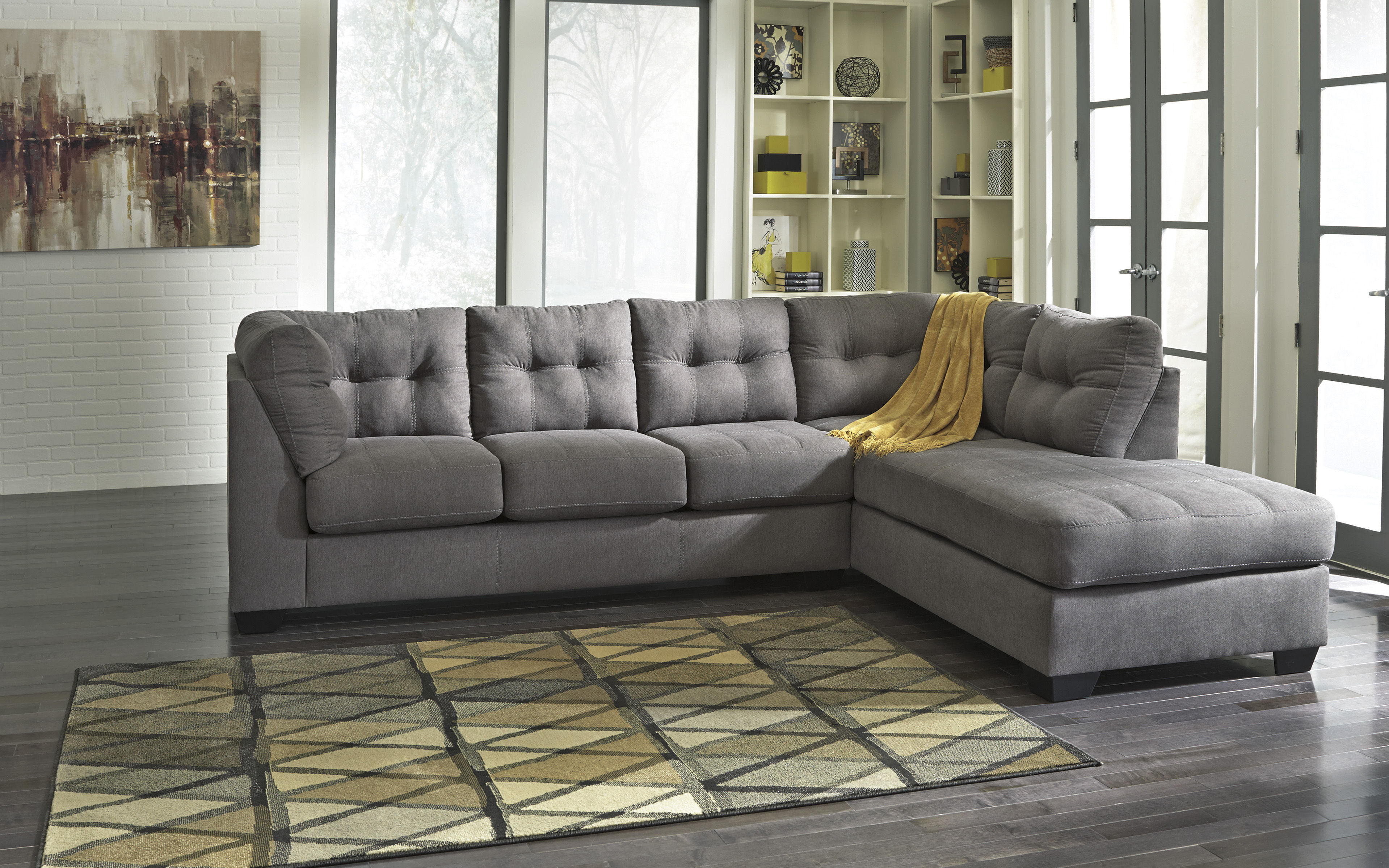 Ashley Furniture Maier Charcoal Raf Chaise Sectional | The Classy Home Throughout Lucy Dark Grey Sofa Chairs (View 4 of 20)