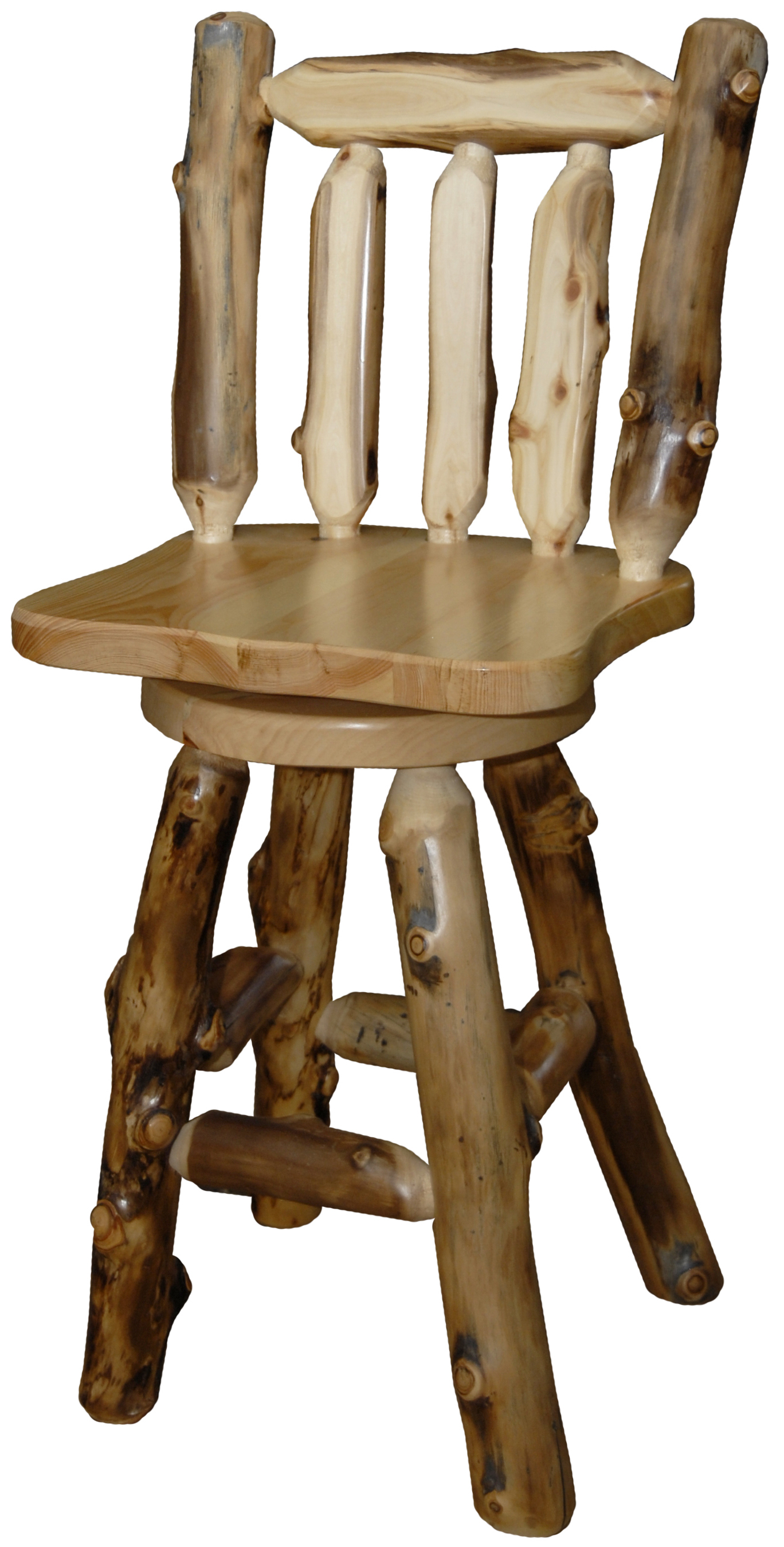 Aspen Swivel Log Bar Stool Pertaining To Aspen Swivel Chairs (Image 6 of 20)