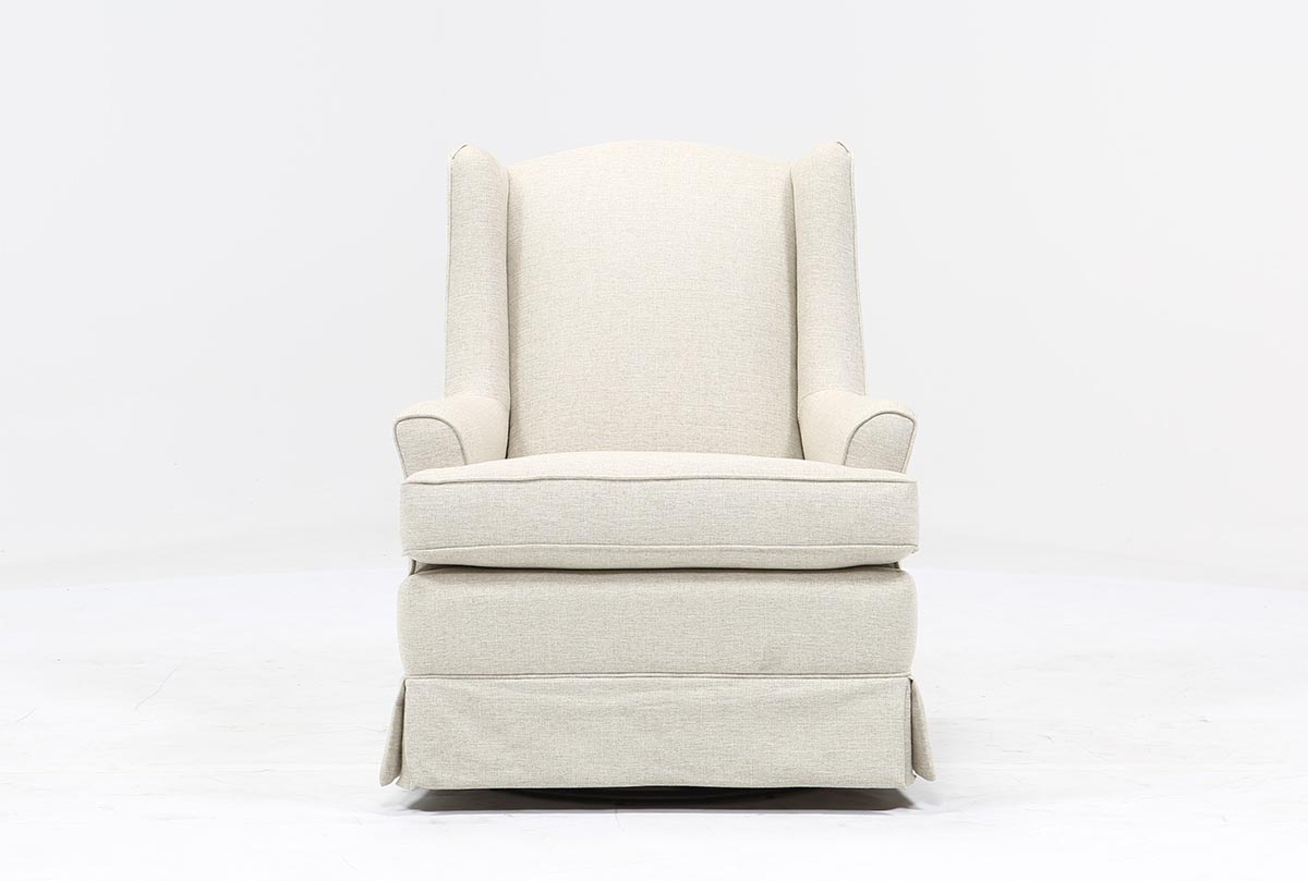 Bailey Flare Arm Wing Skirted Swivel Glider | Living Spaces With Bailey Roll Arm Skirted Swivel Gliders (Image 2 of 20)