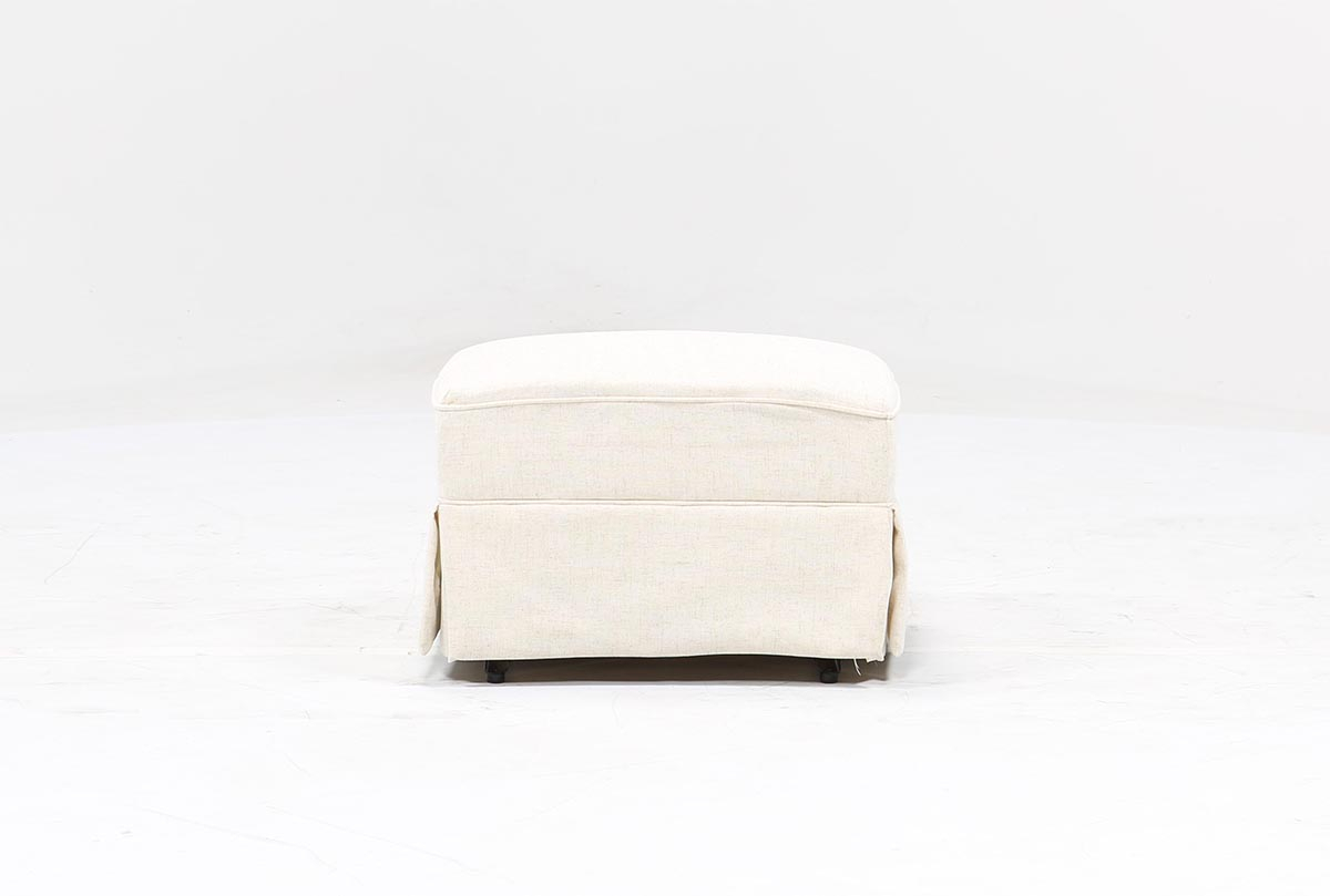 Bailey Skirted Glider Ottoman | Living Spaces In Bailey Linen Flare Arm Wing Skirted Swivel Gliders (Image 4 of 20)